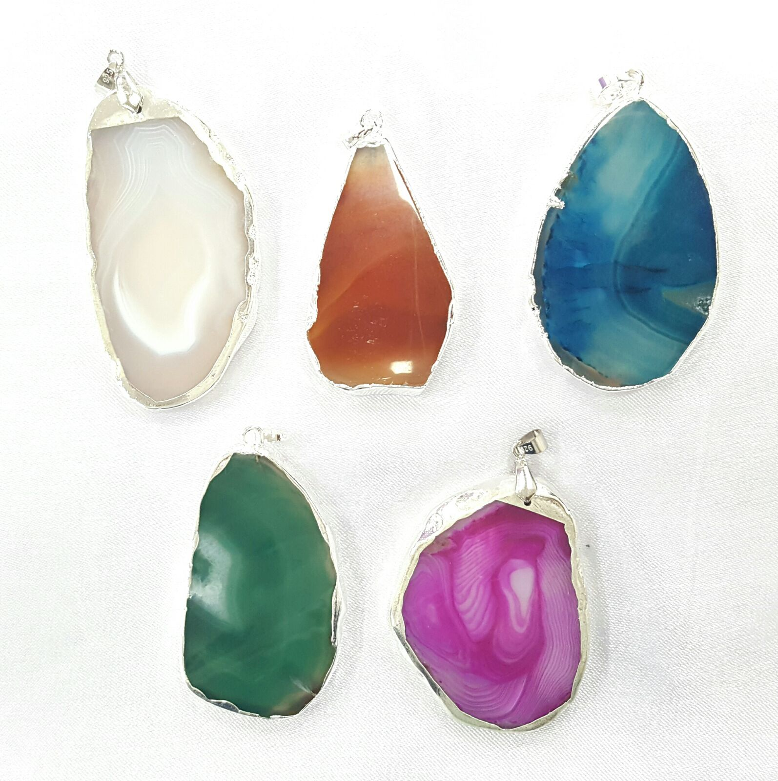 Agate Slice Pendants 5 pc