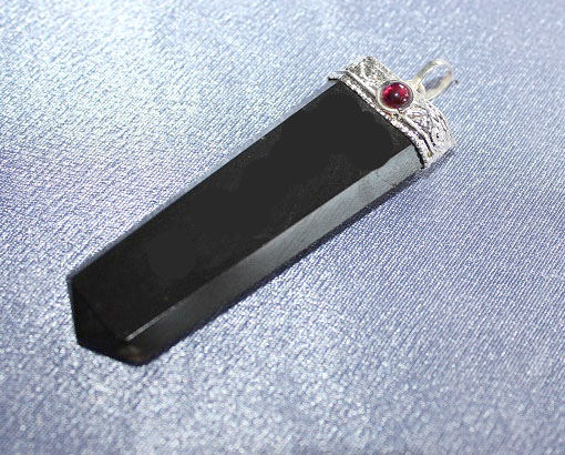 Black Agate with Garnet Flat Pendant