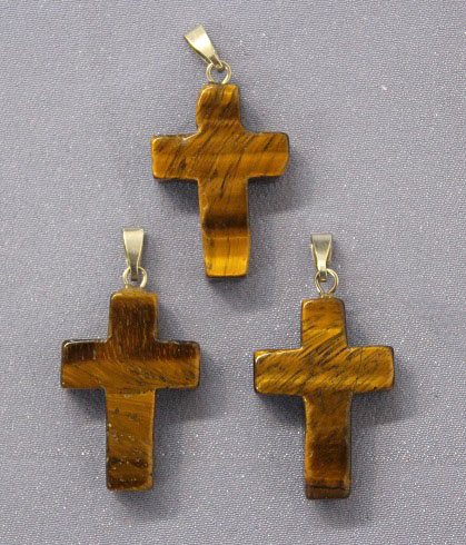 Cross Tigers Eye Pendant