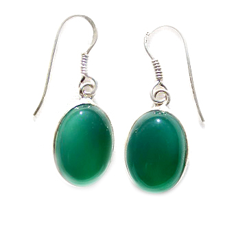 Green Agate Oval Earrings