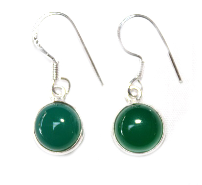 Green Agate Round Earring