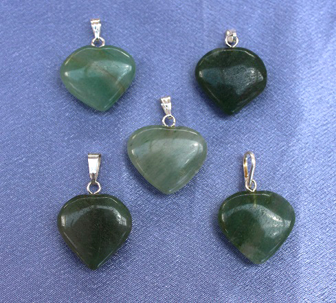 Green Aventurine Heart Pendant - Small 1pc