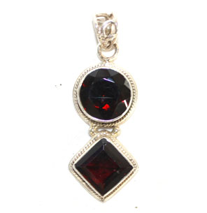 Garnet Faceted Pendant 1