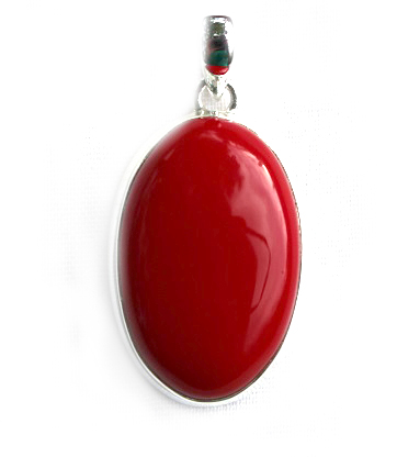 Red Ceramic Oval Pendant
