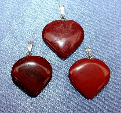 Red Jasper Heart Pendant - 1pc