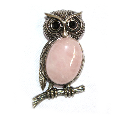 Rose Quartz Owl Pendant