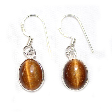 Tigers Eye Oval Earrings